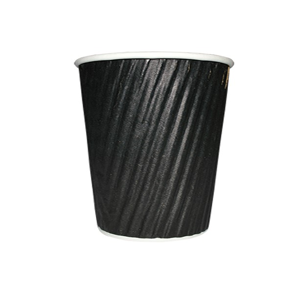 8oz RIPPLE WRAP COFFEE CUPS BLACK