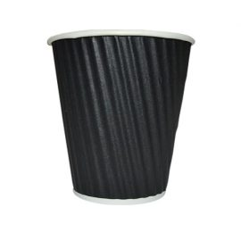 12oz RIPPLE WRAP COFFEE CUP BLACK