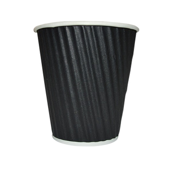12oz RIPPLE WRAP COFFEE CUPS BLACK