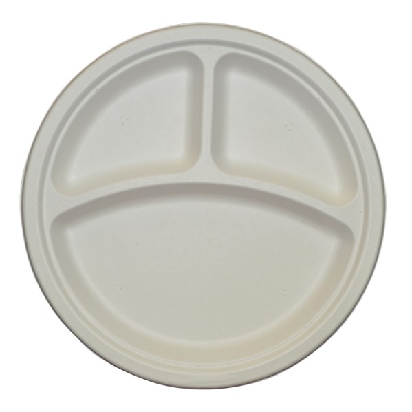 10″  ROUND PLATE 3 COMPARTMENT SUGARCANE