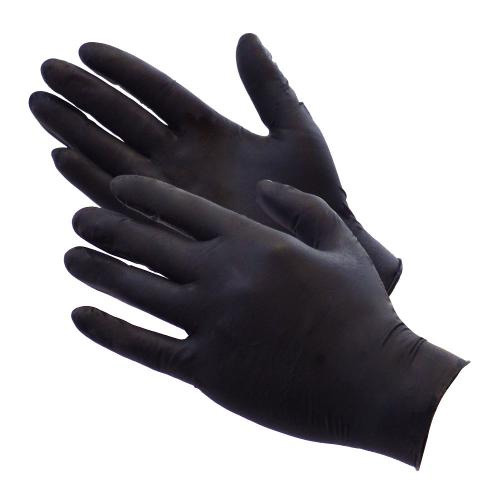 NITRILE POWDER FREE GLOVES BLACK (L)