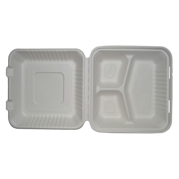 SUGARCANE DINNER BOX (L)  9″x9″ – 3 COMPARTMENTS