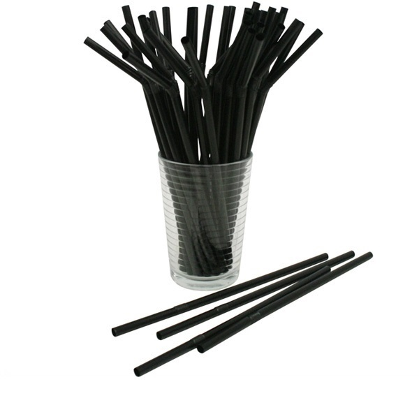 FLEXIBLE DRINKING STRAWS BLACK 210mm 3000pcs